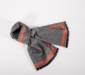 Okioki 玻尿酸围巾 粉色盒短流苏款-橘条纹6号色